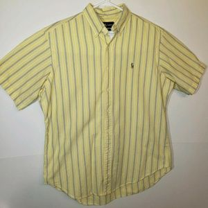 Ralph Lauren Yellow Striped Short Sleeve Button Up